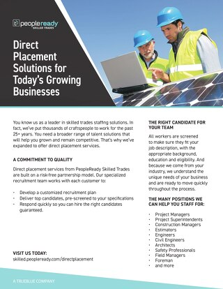 PeopleReady Skilled Trades Direct Placement Sell Sheet