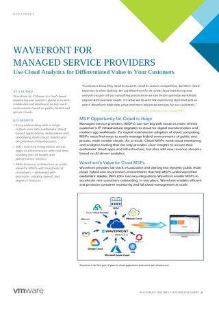 Datasheet: Wavefront for Managed Service Providers