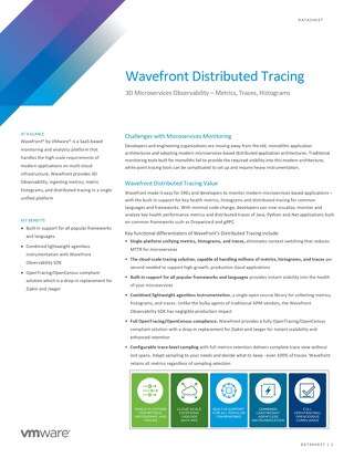 Datasheet: Wavefront Distributed Tracing