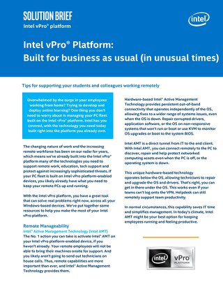 Intel vPro® Platform: Built for business as usual (in unusual times)
