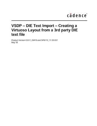 VSDP - DIE Text Import - Creating a Virtuoso Layout from a 3rd party DIE text file