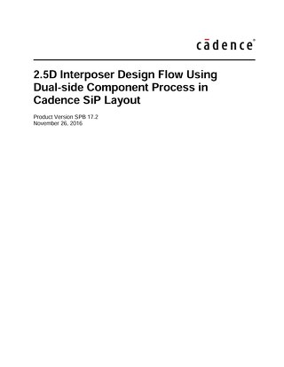 2.5D Interposer Design Flow Using Dual-side Component Process in Cadence SiP Layout