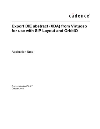 Export DIE abstract (XDA) from Virtuoso for use with SiP Layout and OrbitIO
