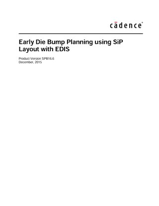 Early Die Bump Planning using SiP Layout with EDIS