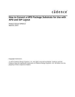 How to Convert a UPD Package Substrate for Use with APD and SiP Layout