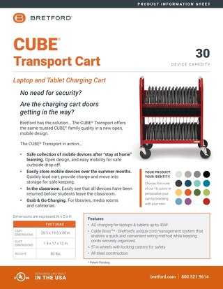 CUBE Transport Charging Cart Information Sheet