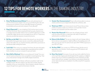 12 Tips for Remote Workers in the Banking Industry