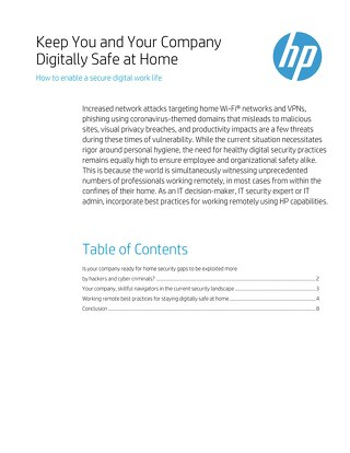 HP Keep You and Your Company Digitally Safe At Home
