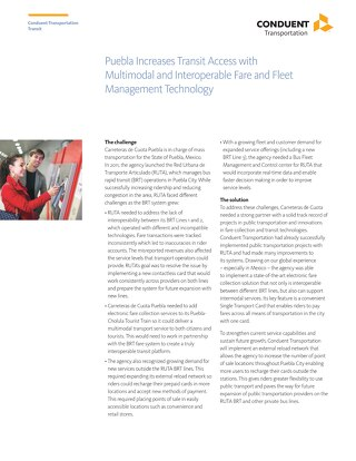 Puebla Increases Transit Access with Multimodal and Interoperable Fare and Fleet Management Technology