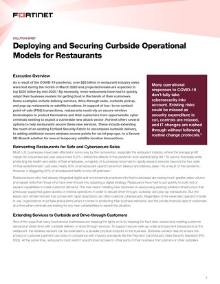 Deploying and Securing Curbside Operational Models for Restaurants