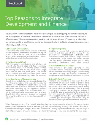 Top Reasons to Integrate Development and Finance