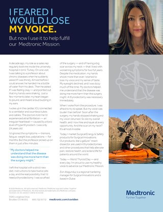 """I'm proud to use my healthy voice to advance our Medtronic Mission."" [Learn More]"