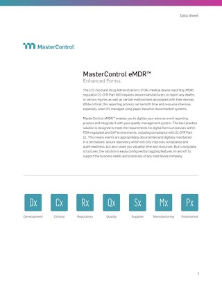 MasterControl eMDR™ Enhanced Forms