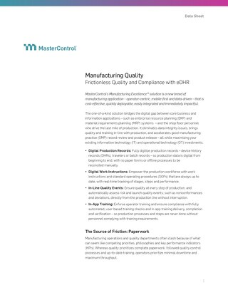 Manufacturing Quality: Frictionless Quality and Compliance With eDHR