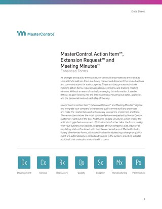 MasterControl Action Item™, Extension Request™ and Meeting Minutes™ Enhanced Forms
