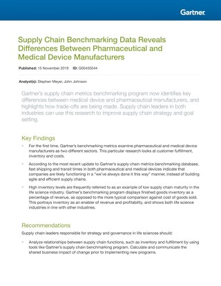 Supply Chain Benchmarking Data Reveals Differences Between Pharmaceutical and Medical Device Manufacturers