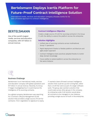 Bertelsmann Deploys Icertis for Future-Proof Contract Management Solution