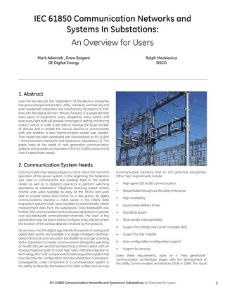 Case Study: IEC 61850 Communication Networks and Systems In Substations