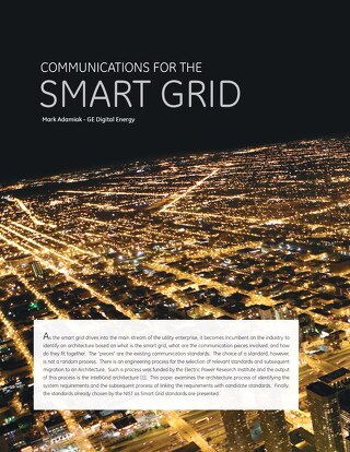 White Paper: Communications for the Smart Grid