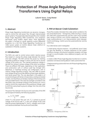 White Paper: Protection of Phase Angle Regulating Transformers Using Digital Relays