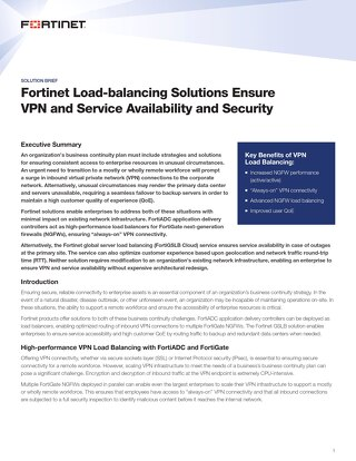 Fortinet Load-balancing Solutions Ensure VPN and Service Availability and Security