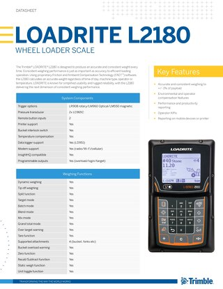 Trimble LOADRITE L2180 Datasheet - English