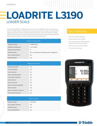 Trimble LOADRITE L3190 Datasheet - English