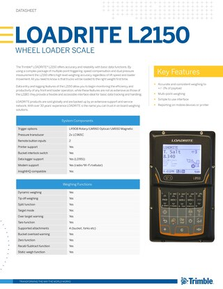 Trimble LOADRITE L2150 Loader Scale Datasheet - English