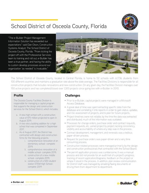 The School District of Osceola County, FL Streamlines Program Processes