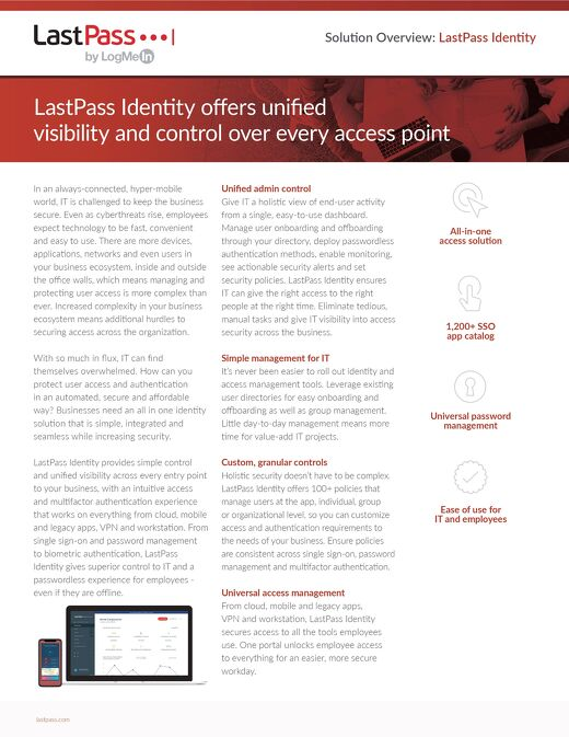 Solution Overview:  LastPass Identity