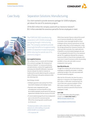 Case Study: Separation Solutions for a Major Manufacturing Company