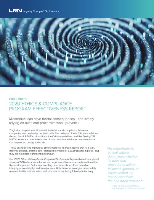 2020 Ethics and Compliance Program Effectiveness Report One-Pager