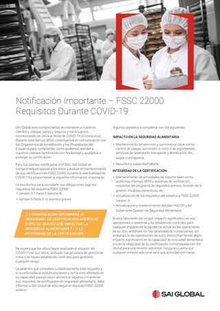 FSSC 22000 Requisitos Durante COVID-19