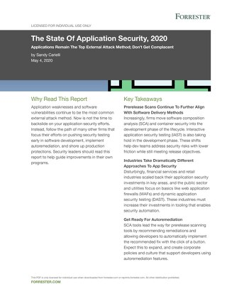 The State Of Application Security, Forrester 2020