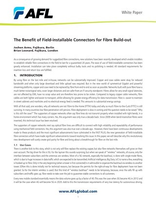 The Benefit of Field-Installable Connectors for Fibre Build-out