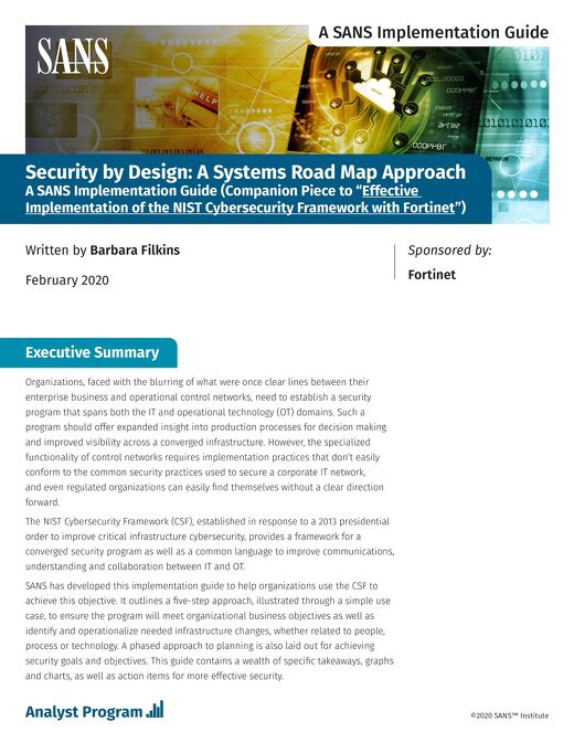 Security by Design: A Systems Road Map for NIST