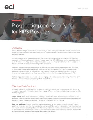 Prospecting and Qualifying for MPS Providers