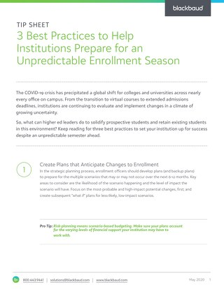[Tip Sheet] Preparing for an Unpredictable Enrollment Season