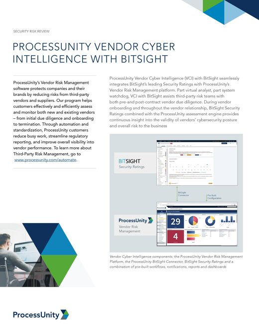 ProcessUnity Vendor Cyber Intelligence with BitSight