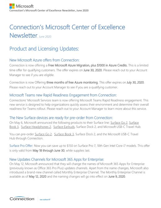 Connection's Microsoft Center of Excellence Newsletter-June 2020