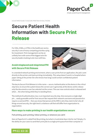 PaperCut Healthcare Security