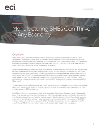 Manufacturing SMBs Can Thrive in Any Economy