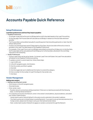 Reference Guide- Accounts Payable