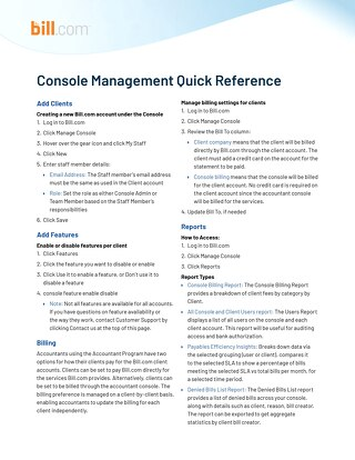 Reference Guide- Console Management