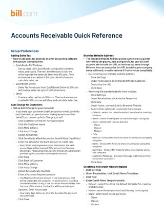 Reference Guide- Accounts Receivable