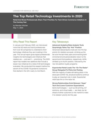 The Top Retail Technology Investments In 2020