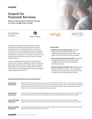 Industry Brief: Unqork for Financial Services
