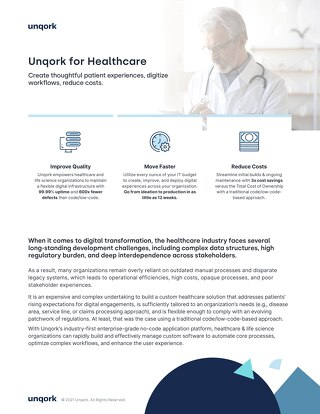 Industry Brief: Unqork for Healthcare