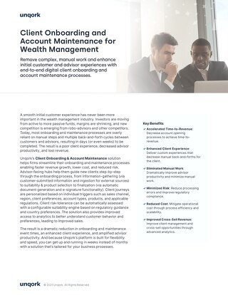 Solution Brief: Client Onboarding and Account Maintenance for Wealth Management