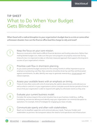 TIP SHEET: What to Do When Your Budget Gets Blindsided